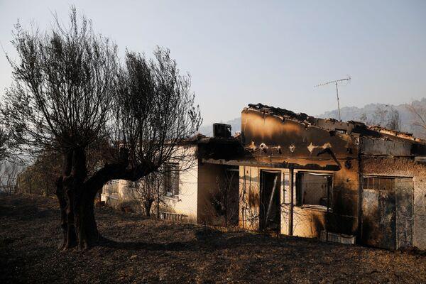 Una casa bruciata mentre l'incendio continua, 1 agosto 2021. - Sputnik Italia