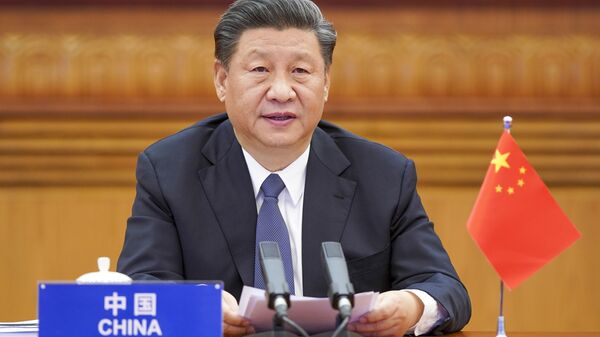 Президент Китая Си Цзиньпин во время вирутального саммита G20 - Sputnik Italia