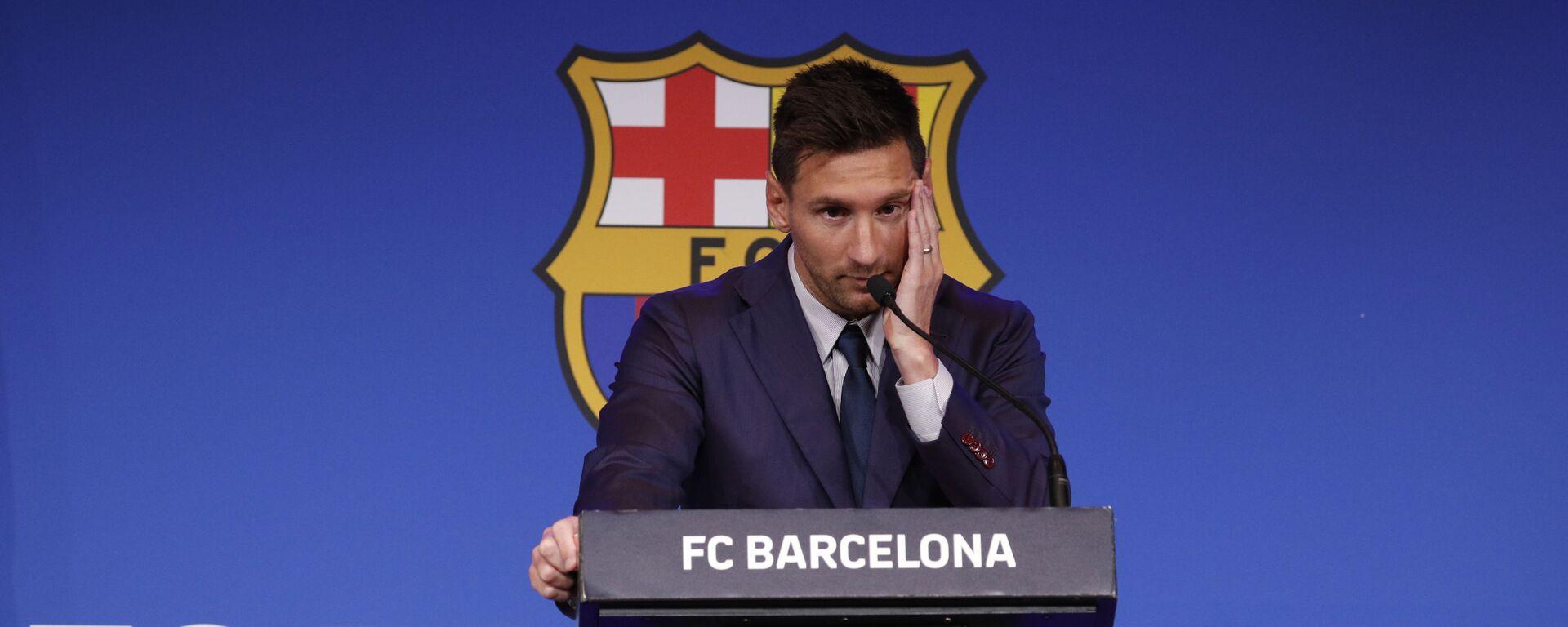 Lionel Messi durante una conferenza stampa - Sputnik Italia, 1920, 10.08.2021