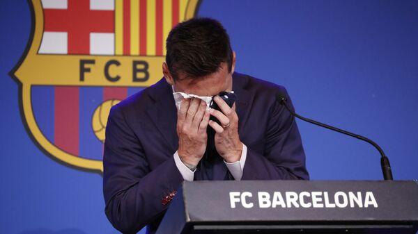 Футболист Лионель Месси на пресс-конференции в Барселоне  - Sputnik Italia