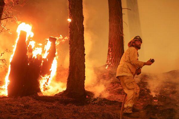 Un vigile del fuoco continua a combattere contro l'incendio Dixie, vicino a Taylorsville, California, Stati Uniti,  il 10 agosto 2021. - Sputnik Italia
