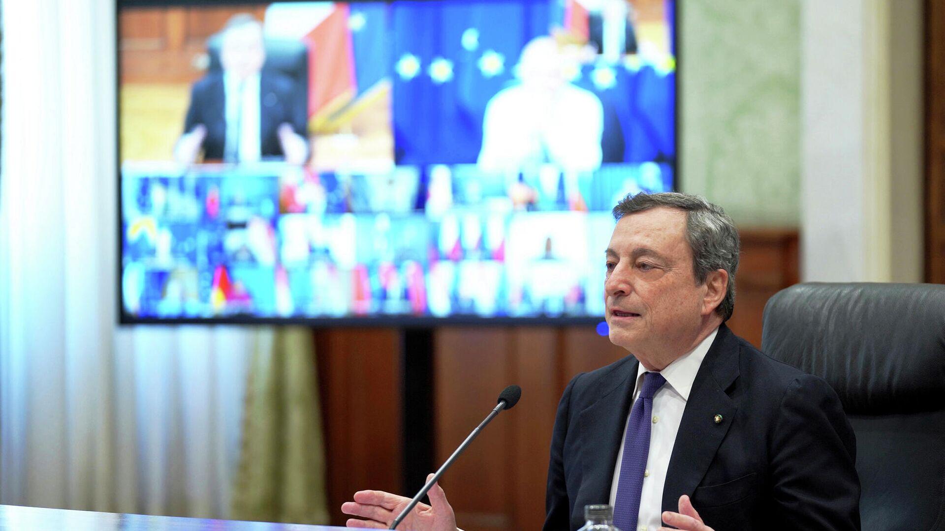 Il Presidente Draghi partecipa alla Videoconferenza dei membri del Consiglio europeo - Sputnik Italia, 1920, 24.08.2021