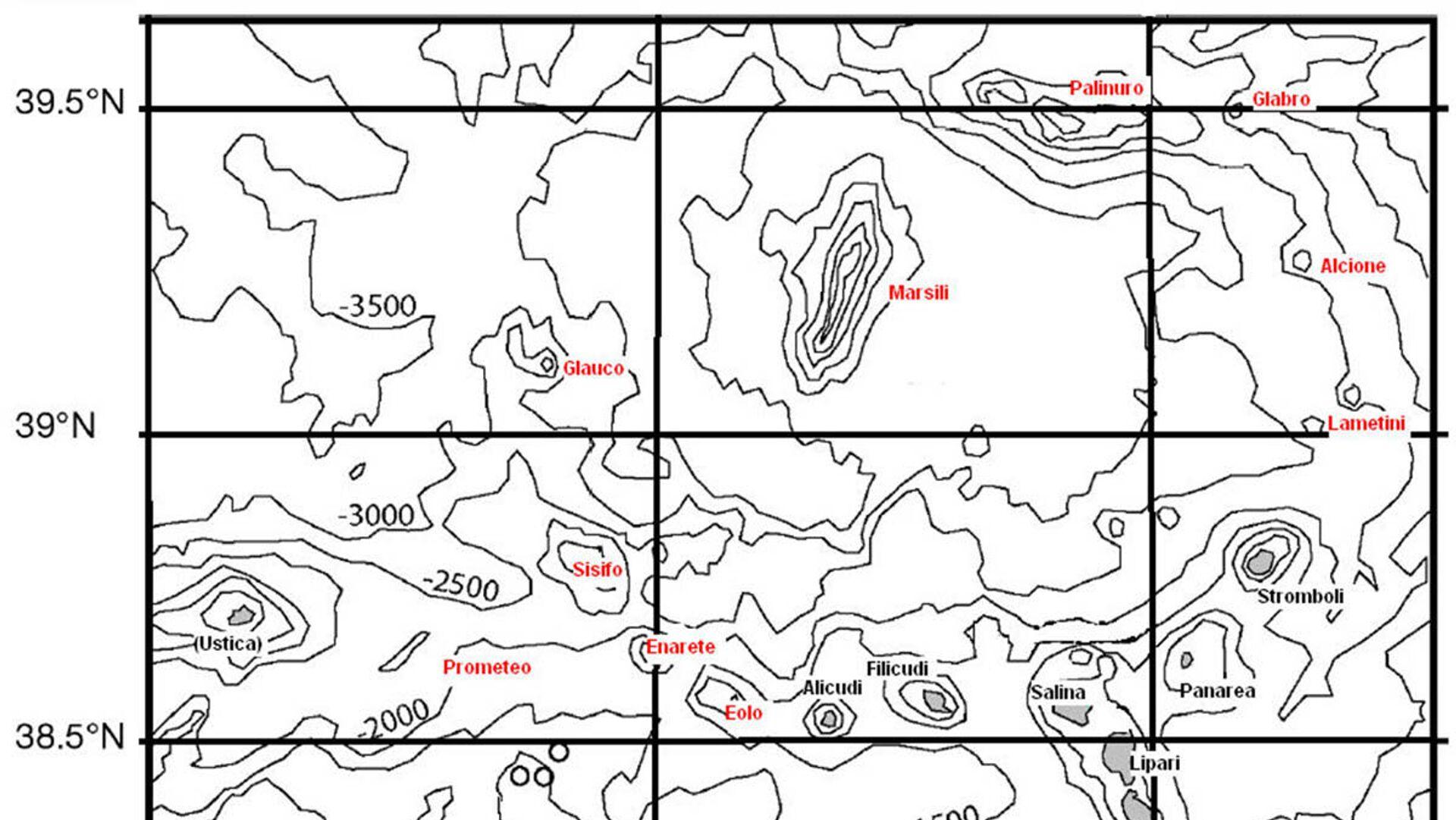 Il Marsili, un vulcano sottomarino localizzato nel Tirreno meridionale e appartenente all'arco insulare Eoliano - Sputnik Italia, 1920, 25.08.2021