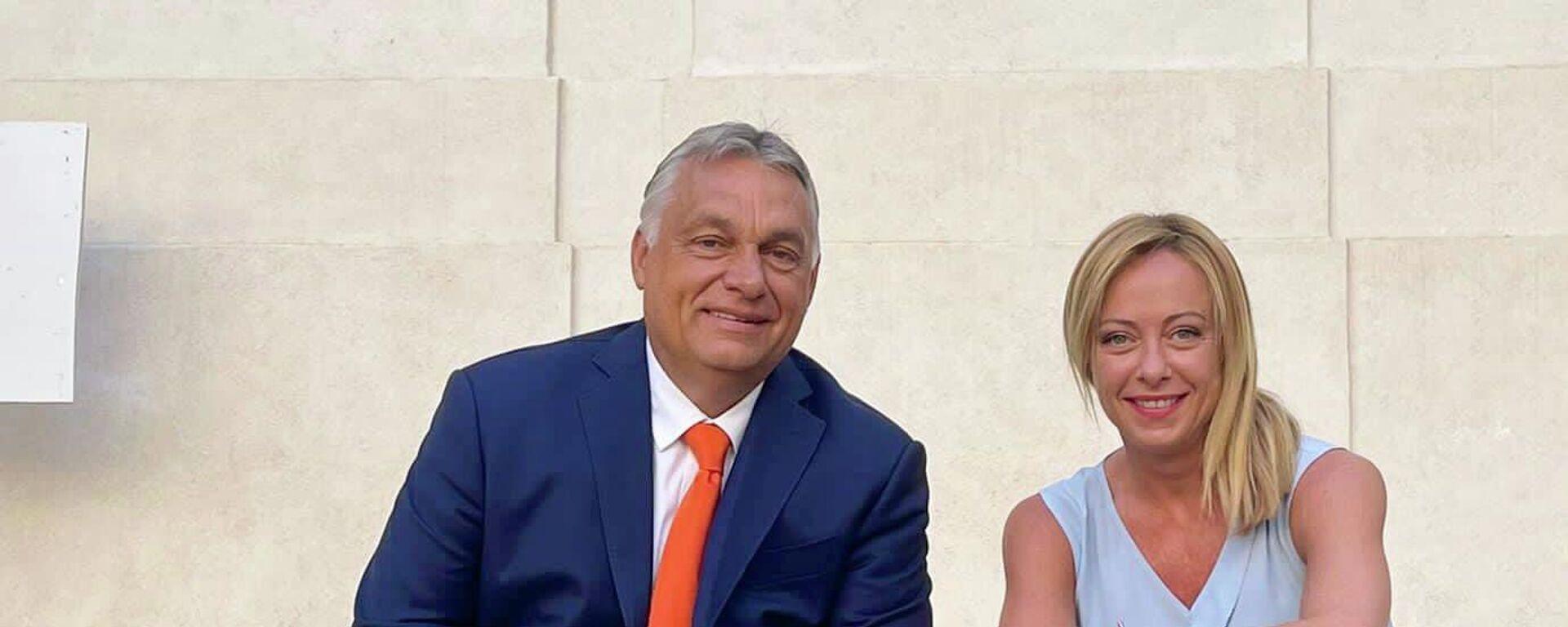 Viktor Orbán e Giorgia Meloni - Sputnik Italia, 1920, 28.08.2021