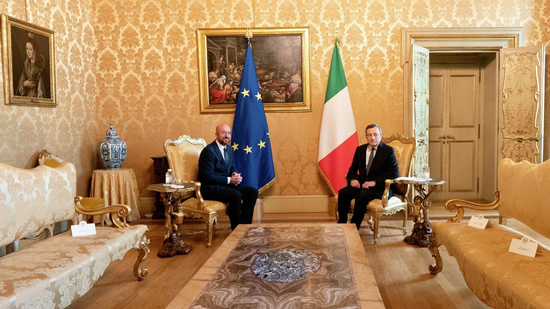 Draghi e Michel a Palazzo Chigi - Sputnik Italia, 1920, 09.09.2021