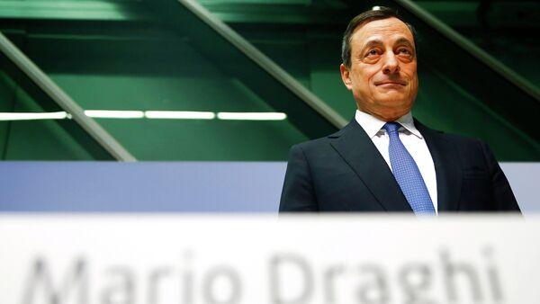 Presidente Mario Draghi alla conferenza di ECB a Francoforte. Il 22 gennaio 2015 - Sputnik Italia