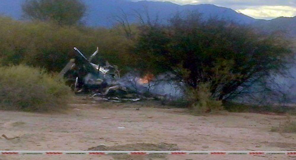 Resti elicottero dopo incidente in Argentina