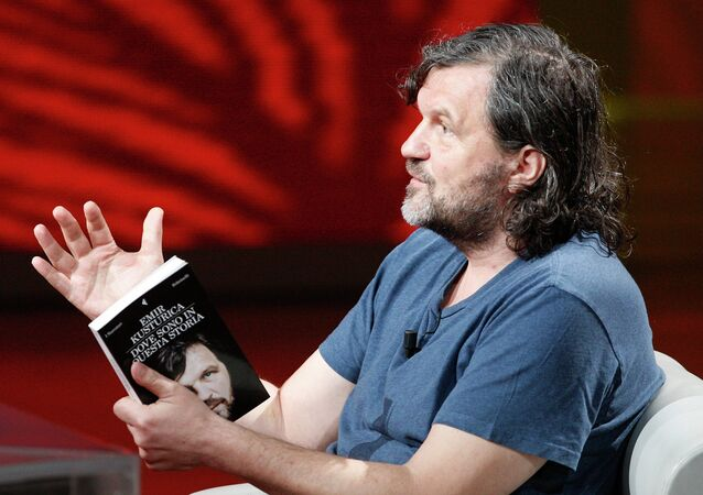 Serbian film director Emir Kusturica gestures during the Italian State RAI TV program Che Tempo che Fa, in Milan, Italy
