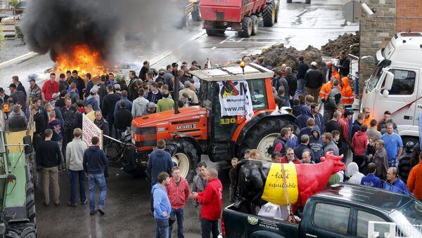 Proteste agricoltori in Belgio - Sputnik Italia