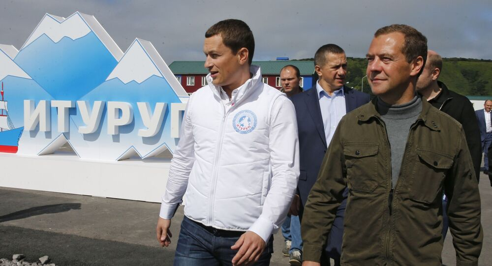 Dmitry Medvedev in visita alle isole Curili