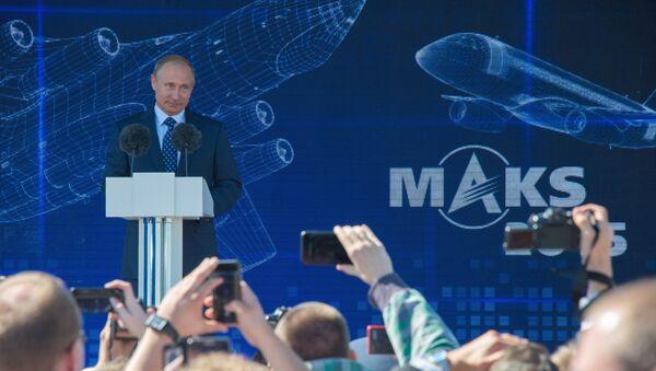 Vladimir Putin al salone aeronautico MAKS 2015 - Sputnik Italia