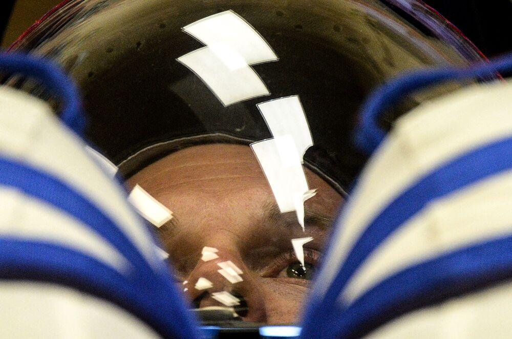 L'astronauta dell'ESA Andreas Mogensen prima del lancio della Soyuz TMA-18M dal cosmodromo di Bajkonur.