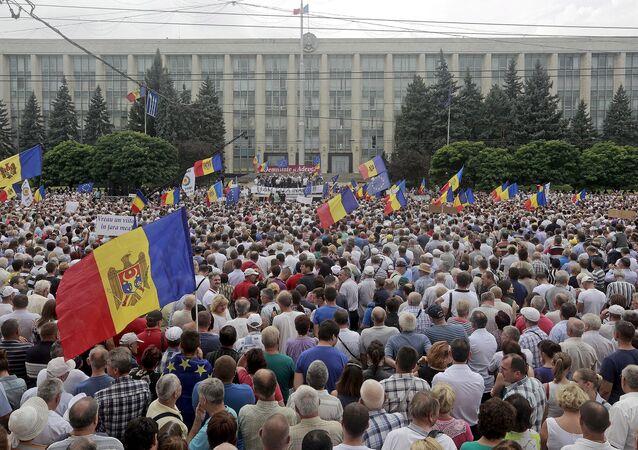 Dimostranti antigovernativi a Chisinau, Moldavia