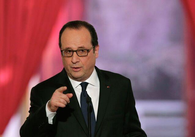 Le président français François Hollande lors d'une conférence de presse, Paris, février 2015
