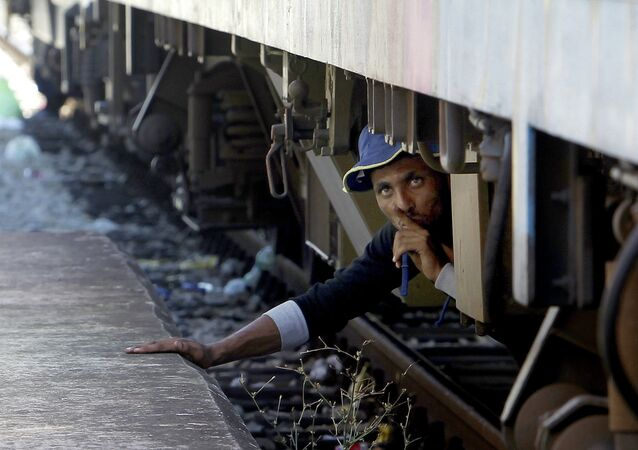 A migrant, hiding under a train, tries to sneak on a train towards Serbia, at the railway station in the southern Macedonian town of Gevgelija, on Monday, Aug. 17, 2015. Over 1,000 migrants from Middle East, Asia and Africa, enter Macedonia daily from Greece, heading north through the Balkans on their way to the more prosperous European Union countries