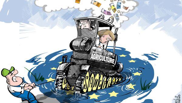 """Oltre 5mila agricoltori """"circondano"""" i palazzi del potere UE a Bruxelles - Sputnik Italia"""
