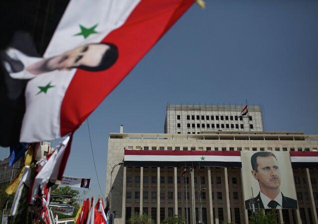 Foto di Bashar Assad a Damasco, Siria