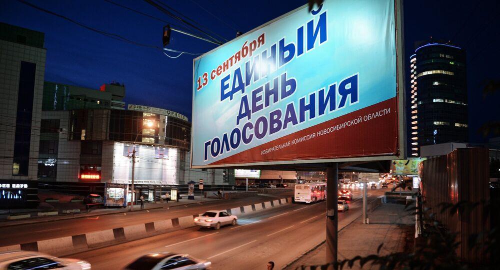 Cartellone stradale a Novosibirsk per le elezioni regionali di domenica 13 settembre