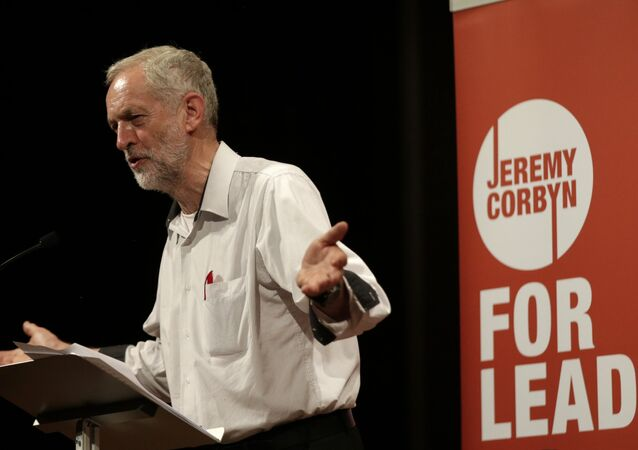 British lawmaker Jeremy Corbyn addressing a meeting during his election campaign for the leadership of the British Labour Party in Ealing, west London, Monday, Aug. 17, 2015.