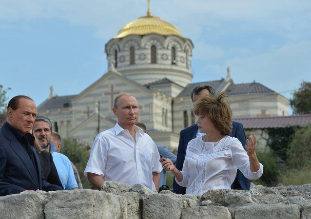 Silvio Berlusconi in Crimea insieme a Vladimir Putin