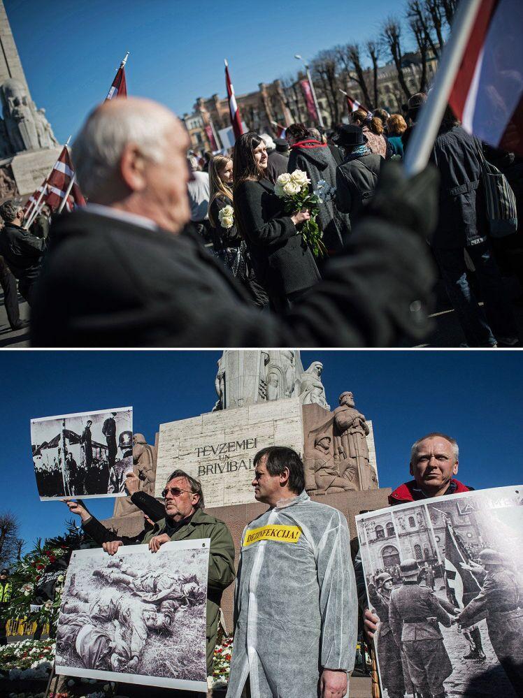 In alto partecipanti alla marcia in memoria dei Legionari lettoni delle SS, in basso contromanifestazione degli antifascisti.