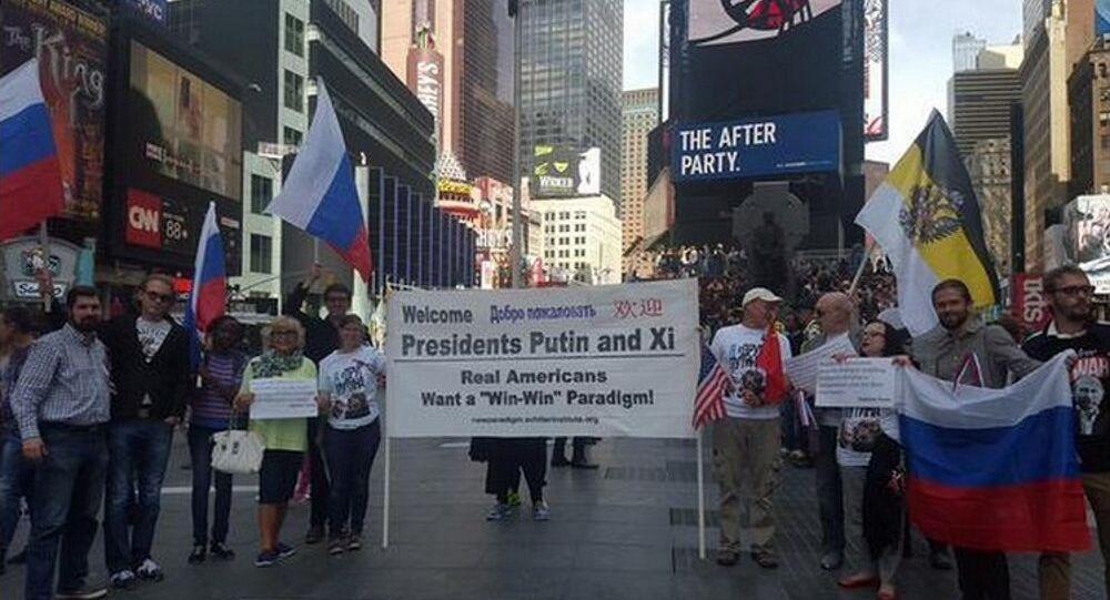 Manifestazione a sostegno di Putin a New York