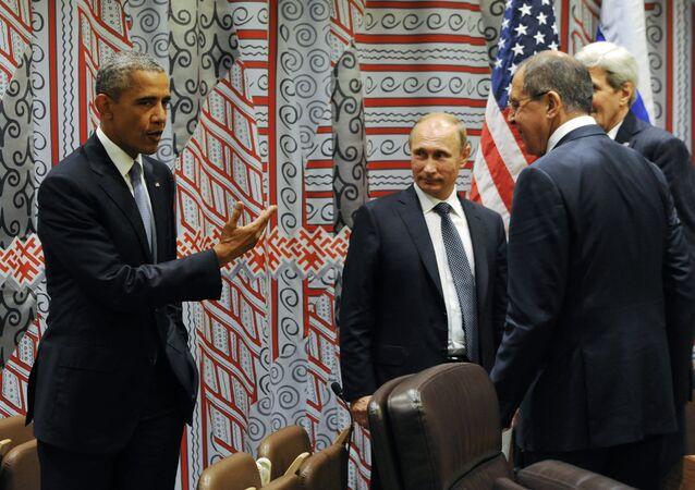 Il presidente degli USA Barack Obama e il presidente russo Vladimir Putin