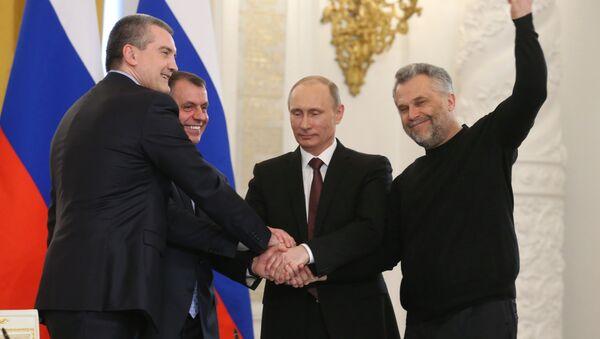 Vladimir Putin, Sergey Aksyonov, Vladimir Konstantinov e Aleksei Chaly - Sputnik Italia