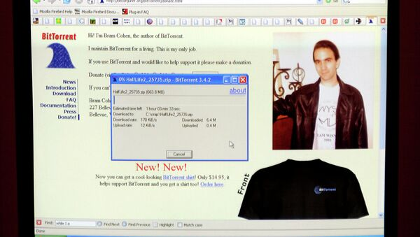 A computer screen shows the program Bram Cohen developed which allows large file downloads from multiple computers that saves time for the user, at his Bellevue, Wash. home Friday Dec. 10, 2004. The innovative online file-sharing software, BitTorrent, has grown into a piracy problem the film industry is struggling to handle. - Sputnik Italia