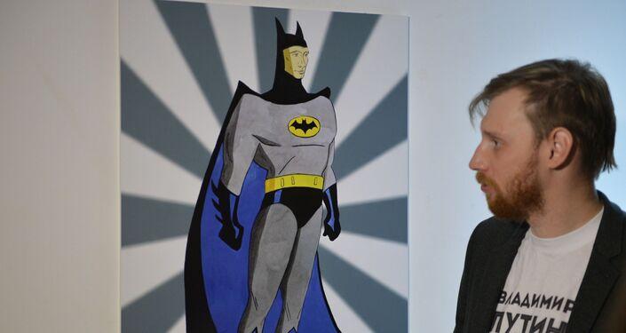 L`immagine di Vladimir Putin come Batman alla mostra Universo di Putin a Mosca  in occasione di suo  63. compleanno il 7 ottobre 2015