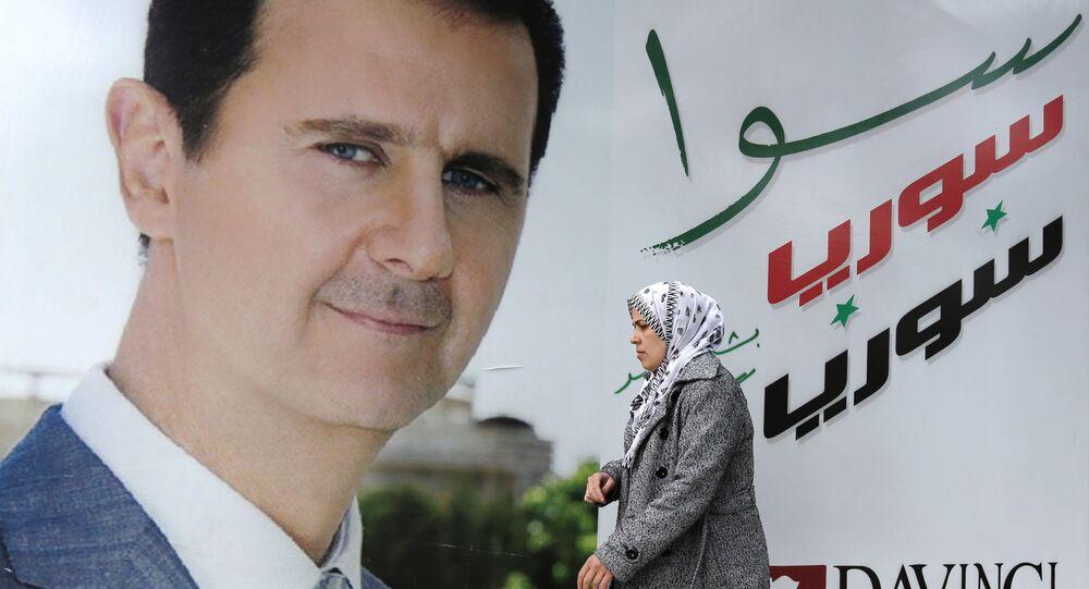 Un poster di Bashar Assad