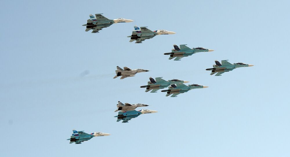 A group of 10 aircraft: Sukhoi 34 aircraft, Sukhoi 27 aircraft and MiG 29 aircraft