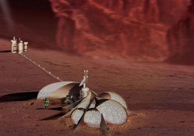 The most ubiquitous and accessible material on Mars is the high (6-14%) iron content silica sand which covers the vast majority of the planet's surface. Once the iron and silica have been separated from the soil matrix, using thermal and magnetic processes, these materials will be moved to hoppers and become the media for induction extrusion /plasma arc sintering heads, positioned by multi-axis CNC hydraulic/servo-driven arms. These robot controlled print-heads will produce first permanent structures on Mars. The monolithic composite shell will be composed of a sintered ferrous latticework on the internal and external surfaces of the structure and a vitrified then devitrified silica core, effectively granite. The lattice and core will provide tensile and comprehensive properties approximating yet surpassing the structural efficiency of ferro-cement or reinforced concrete due to an algorithmiclly regulated deposition of material possible only by through 3d printing. This variable rate of deposition will allow the section modulus of the sintered medium to respond to the specific structural requirements of the form. Also, because of the reductive atmosphere of Mars, the ferrous elements utilized will not undergo the destructive expansion due to oxidation that undermines reinforced concrete structures on earth. The resulting steel and silica forms will serve as bunkers, protecting the Martian inhabitants against solar radiation, small bolide impact, strong prevailing winds, and related sand storms. They will also provide structural reinforcement, insulation, and protection for a nested system of prefabricated graphite/resin inflatable containment units which will provide beta radiation protection, and contain the inhabitable atmosphere.