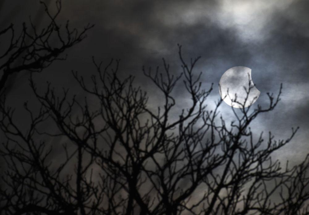 Un'altra suggestiva immagine dell'eclisse solare da Bridgewater, nel sud ovest dell'Inghilterra.