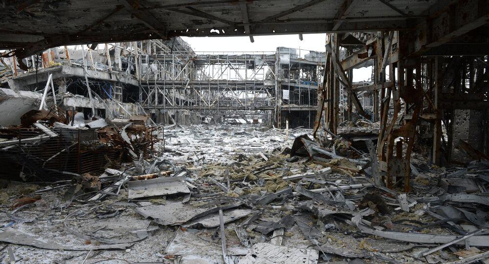 Aeroporto di Donetsk distrutto dai combattimenti (foto d'archivio)
