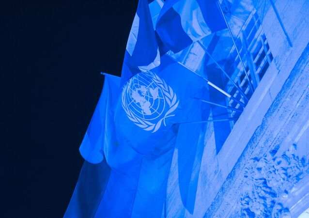 This photo taken on October 23, 2015 in Verdun shows the World Peace Center illuminated in blue light to celebrate the 70th anniversary of the United Nations.