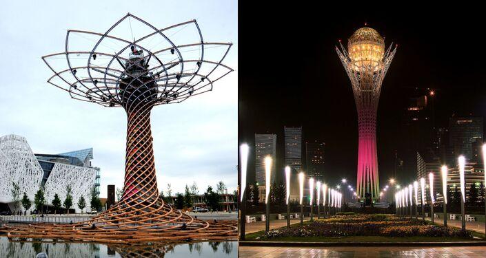 Il simbolo dell'Expo di Milano e la torre Bayterek di Astana: entrambi albero della vita