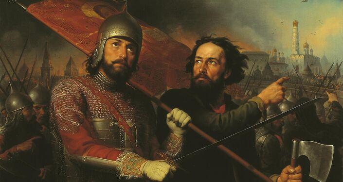 Kuzma Minin e Dmitriy Pozharskiy liberano Mosca - quadro di Mikhail Ivanovich Scotti, 1850
