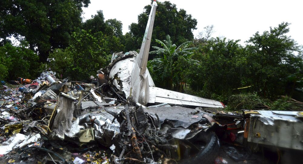 The scene of a cargo airplane that crashed after take-off near Juba Airport in South Sudan November 4, 2015