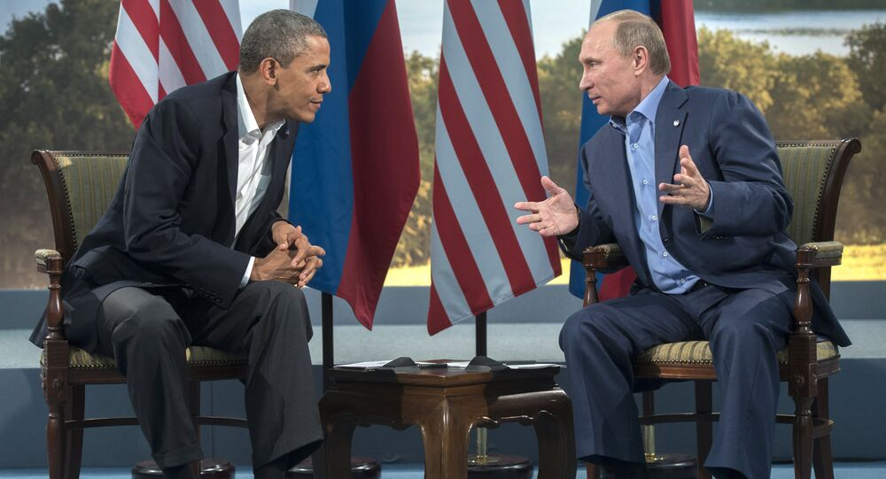June 17, 2013. Russian President Vladimir Putin, right, and US President Barack Obama during a meeting at the G8 summit in Northern Ireland