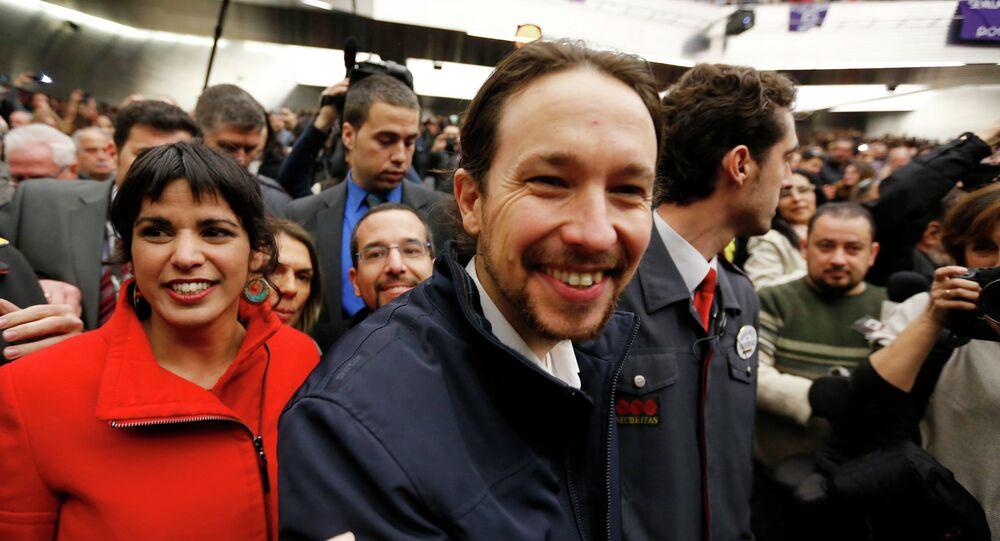 Pablo Iglesias,  Il Secretario Generale del partito Podemos party a  Sevilla, capitale dell`Andalusia