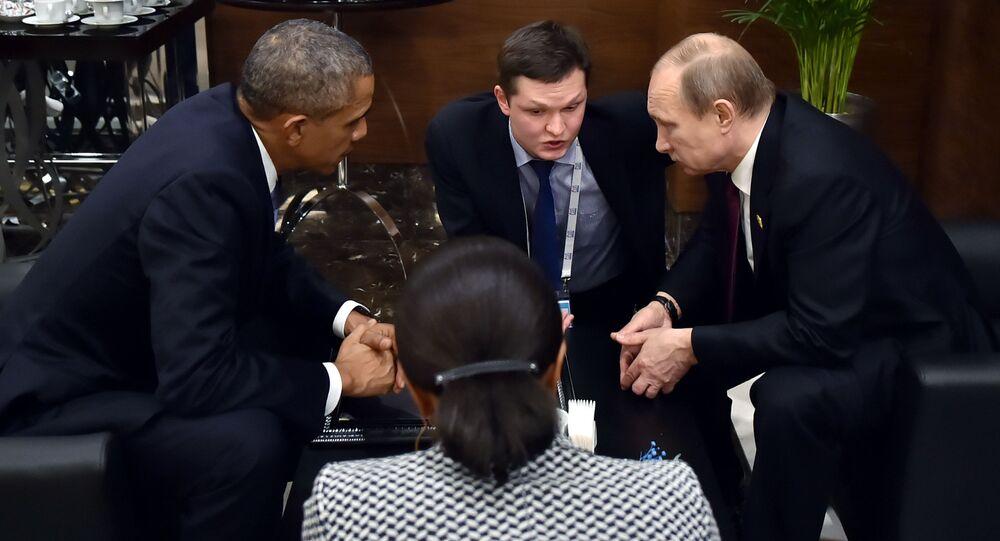 Il presidente russo Vladimir Putin e il presidente degli USA Barack Obama al G20 in Turchia.