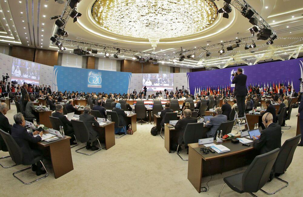 Il presidente russo Vladimir Putin al vertice G20 in Turchia.