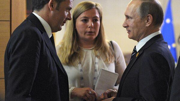 Renzi e Putin al summit del G20 in Turchia - Sputnik Italia