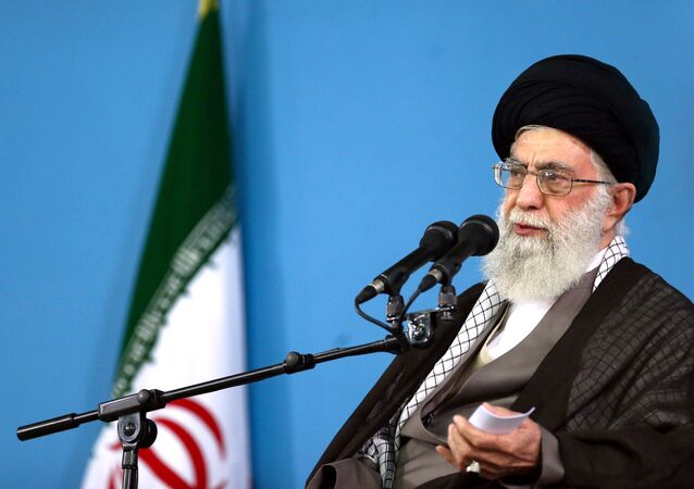 In this picture released by the official website of the office of the Iranian supreme leader, Supreme Leader Ayatollah Ali Khamenei delivers a speech during a meeting in Tehran, Wednesday, Sept. 9, 2015