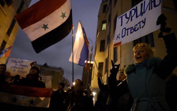 Manifestazione di protesta di fronte all'ambasciata turca a Mosca - Sputnik Italia