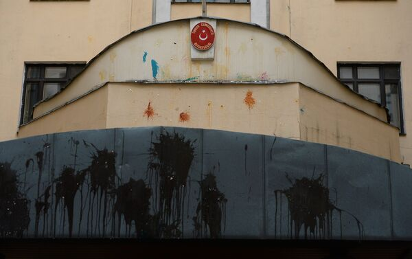 Vernice contro l'ambasciata turca a Mosca. - Sputnik Italia