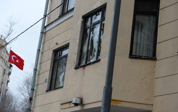 La facciata dell'ambasciata turca a Mosca imbrattata - Sputnik Italia