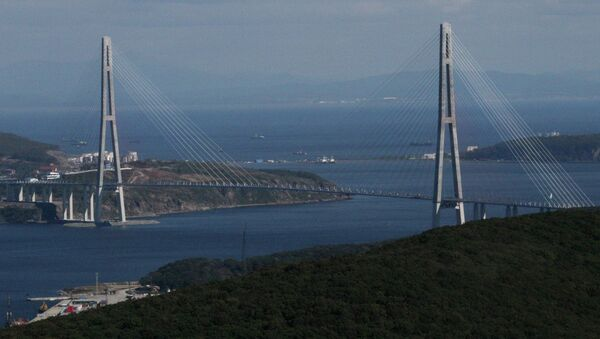 A cable bridge over the Eastern Bosphorus strait on Russky Island in Vladivostok - Sputnik Italia