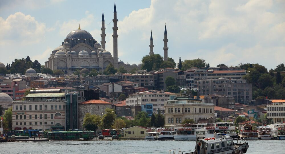 View of the Blue Mosque across the Bosphorus, Istanbul